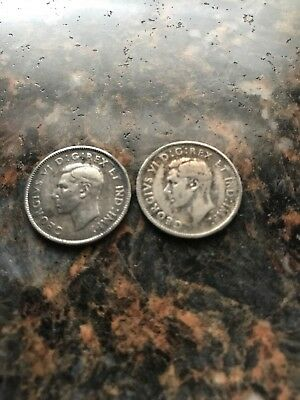 Lot Of 2, 1947 & 1948 ML  Canada  25 Cent Coins FREE 80 Silver