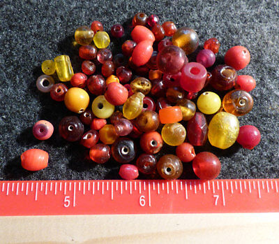 Collection of 1700s Indian Fur Trade Glass Beads Red Yellow Vaseline White Heart