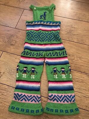Childs Vintage Hand Knitted Dungerees