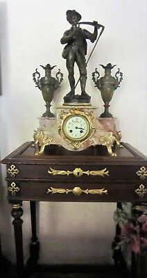 1880s French Garniture spelter clock and vases