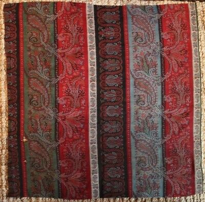"Hand Woven Wool Kashmir Shawl (Paisely) c 1860 Fabric- L 30"" x W 30"""