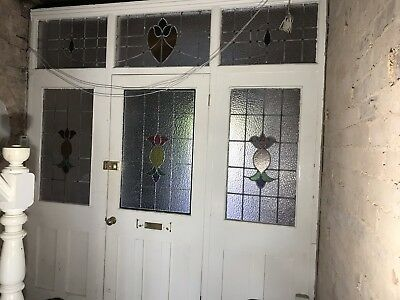 1930s Leaded Stained Glass Front Door Side Panel