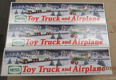 Vintage Hess Truck 2002 Lot Of Three Toy Truck With Airplane (12754-Hess-My)