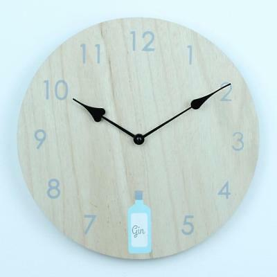 Gin Wooden Rustic Clock Vintage British Round Shabby Chic Retro Hall Old