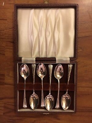 Vintage Hallmarked Solid Silver Boxed Set of 6 Tea Spoons 1910 Sheffield