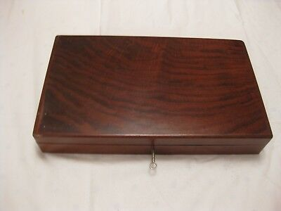 Polished Hardwood Wooden Lockable Box With Working Lock & Original Key See Scan