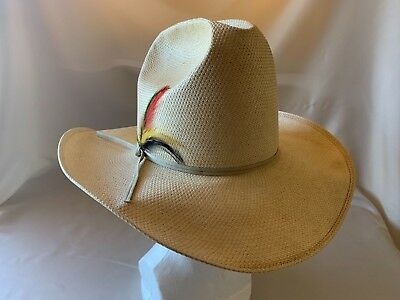 Vintage - Stetson Roadrunner Cowboy Hat Woven Straw Western Feather - 6 3 4 a3fc98b20342