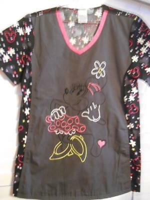 NWT  MINNIE MOUSE Disney EMBROIDERED Scrubs Top Size Small 2 Pockets Tooniforms