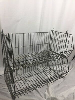 Pair Of Vintage Metal Mail Racks Storage Unit Kitchen Office Shoes Etc