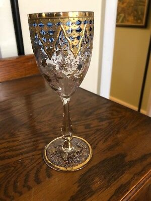 Antique Vintage Gold Enamel goblet Moser Unusual Wine Glass Art Glass Czech Nice