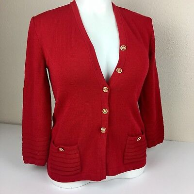 St John Collection Marie Gray Santana Knit Jacket Red Button Front Women S Flaws