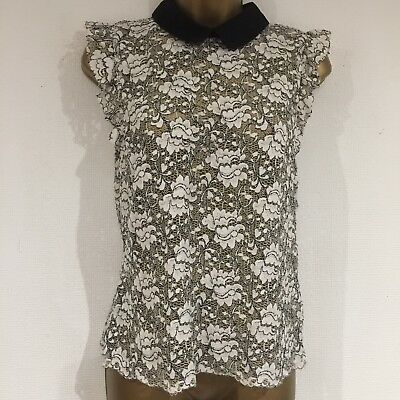 Ladies Top Size 10-12 Ivory White Black ZARA Lace Front Peter Pan Collar Raw Hem