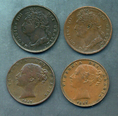 1822, 1823 George Iv Farthngs And 1847 And 1857 Victoria Farthings.