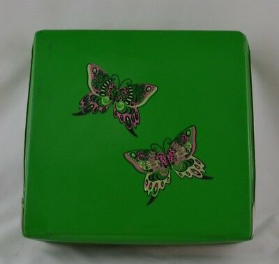 Vintage Vinyl Square Box Butterflys Wig Box Green MCM Mid Century Kitsch