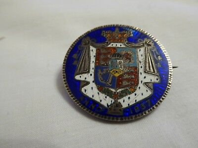 William IV silver crown enamelled brooch dated 1837.