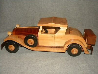 Beautiful Handmade Wooden Classic car with Rumble seat Christmas Gift