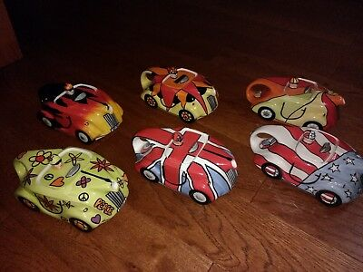 Lorna Bailey Racing Car Teapots 42/100 Complete Set