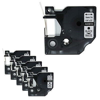 6PK Black on White Label Tape 6mm*7m For Dymo D1 43613 LabelManager 200 350 400