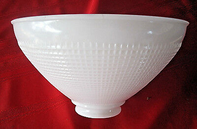 """Vintage White Milk Glass Torchiere Shade Waffle Pattern 10"""""""