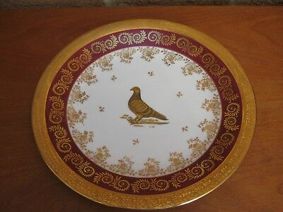 Lovely French Limoges Cabinet Plate Decorated With Red & Gold Border With Pigeon