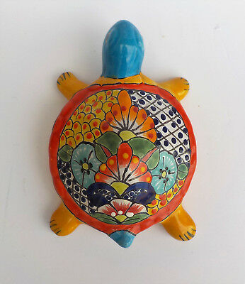 "Mexican Pottery Box Turtle Sculpture 9 3/4"" Animal Figure"