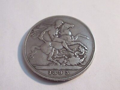 British 1893 Queen Victoria Large Crown 126 Year Old  Silver 0.925%  Nice Coin