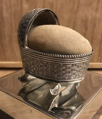GORGEOUS c1910 STERLING SILVER BABY CRADLE FORM SEWING PIN CUSHION THIMBLE CASE