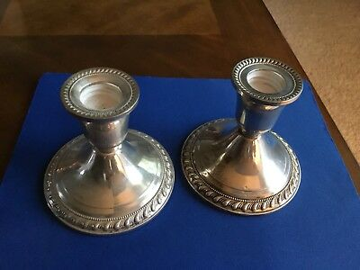 """Vintage Pair Of Duchin Weighted Sterling Silver 3 1/4"""" Candle Holders"""