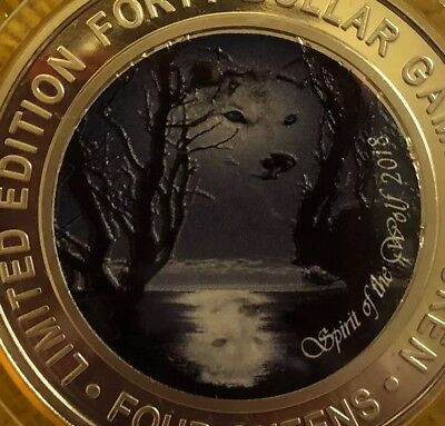 FOUR QUEENS $40 Silver Strike Coin. Gold Cap Spirit of the Wolf .999 Real Silver