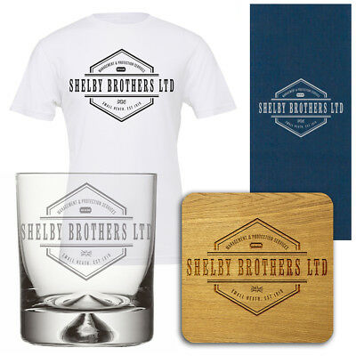 Perfect Peaky Blinders Gift Set For Christmas, Glass, Coaster, T Shirt & Box
