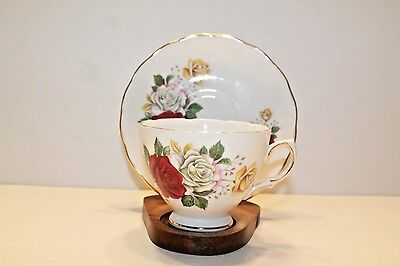 Stanley of England Fine Bone China Tea Cup & Saucer w/gold trim-roses & lilacs