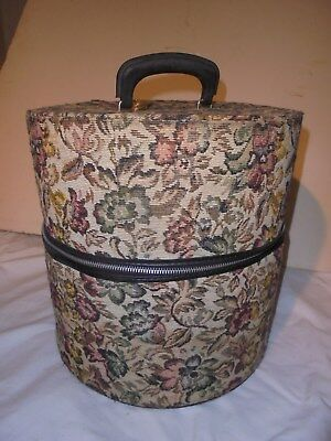 Vintage tapestry hat wig box travel luggage with skeleton key