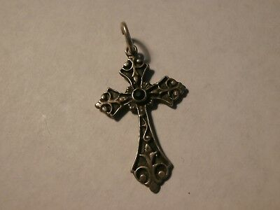 "Vintage Sterling Silver 925 Onyx Center Stone Cross Necklace Pendant 1.4"" Tall"