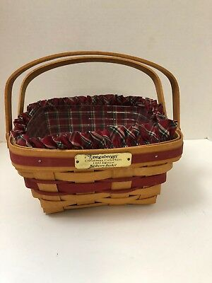 Longaberger Basket~1993~Christmas Collection Bayberry~w/Fabric & Plastic Liners