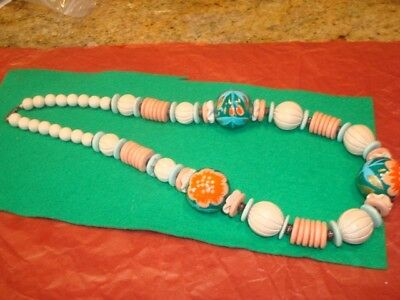 Vtg 80s Hand-painted Wooden Bead Necklace Turquoise Peach Cream Retro/Boho 1B