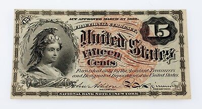 US Fractional Currency 15C Note Fourth Issue FR #1267 AU Condition