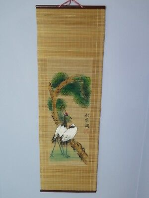 Vintage Bamboo? Wall Hanging Painted Large Asian Art Chinese Birds and Trees