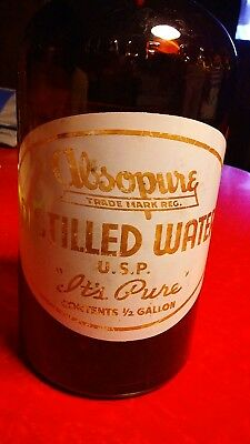 absopure 1/2 gal distilled water brown glass bottle Absopure water company mich