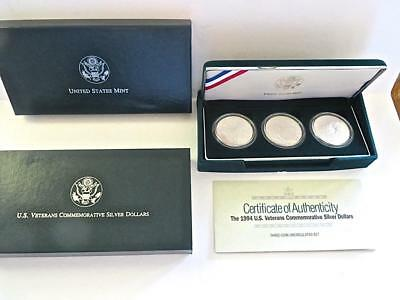 1994 US Mint Veterans Commemorative Silver Dollars Proof Set Of 3 Coins.      #2