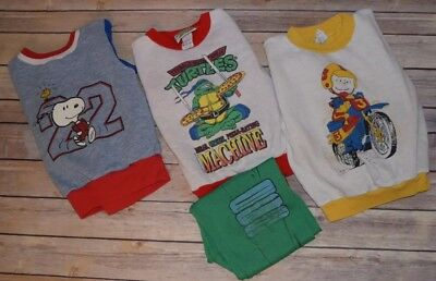 Lot of 3 VTG Snoopy Ninja Turtles Youth Kids Sizes 6-10 Sweatshirts and Pants