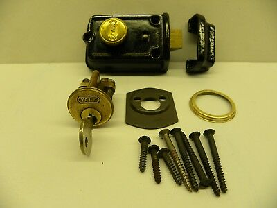 Vintage Black Yale Dead Bolt Lock with One Key (In Original Box with Hardware )