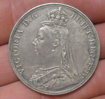Great Britain - 1889 Large Silver Crown - Nice
