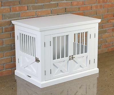 3 Door Dog Crate Cage End Table Wood Cat Kennel Furniture Locking Bed House New