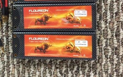 Lot of 2 New FLOUREON 7.4V 5200mAh 2S 25C  Li-po Battery Hardcase.