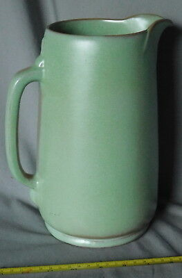 Vintage Frankoma Pottery Water Pitcher Prairie Green Plainsman large brown