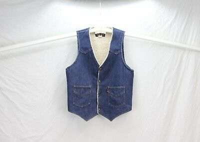 Vintage Trucker Hipster 515 Jean Vest - Sherpa Lined - USA Made - ATB - Unisex M