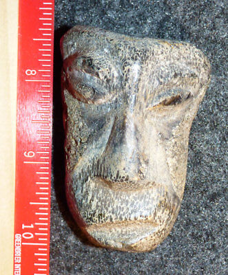 Old Pisgah Indian Ancient Stone Face Hand Carved Pre-1600 Good Patina