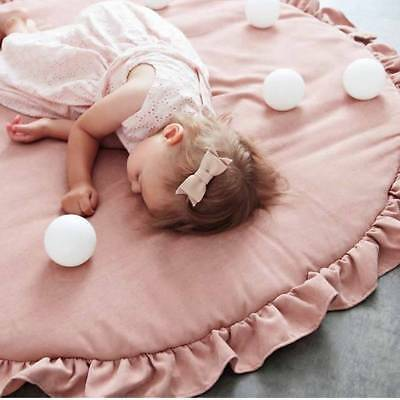Soft Cotton Baby Kids Game Gym Activity Play Mat Crawling Blanket Floor Rug Pink