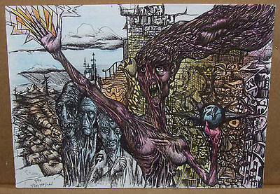 """Original Artist Signed Pen on Paper """"Storm of the People"""" by Spencer John Derry"""