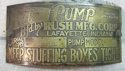 C 1920 Rush visible gas pump brass id tag sign Lafayette In Ind